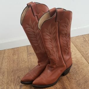 JUSTIN Leather Western Brown Boots Size 7